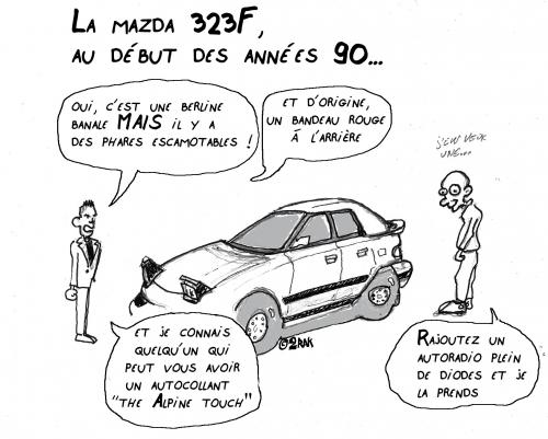 année 90,mazda,323f,dessin,souvenir